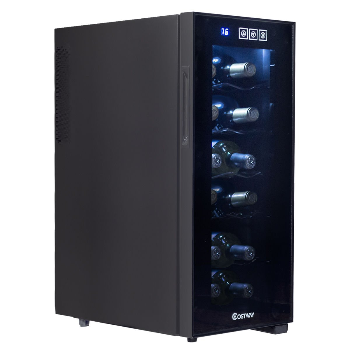 Costway Thermoelectric Wine Cooler Freestanding Cellar Chiller Refrigerator Quiet Compact w/ Touch Control (12 Bottle)