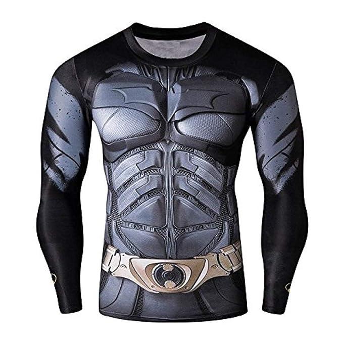 a6ca1461fe2cf6 16023 - Maglia T-Shirt Sportiva Manica Lunga con Stampa Batman per Uomo - (