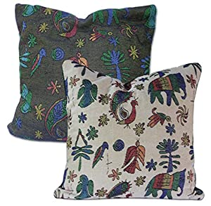 Amazon.com: Tamarind Bay 18 in Luxury Tapestry Throw Pillow Cushion Cover with Reversible Dual ...
