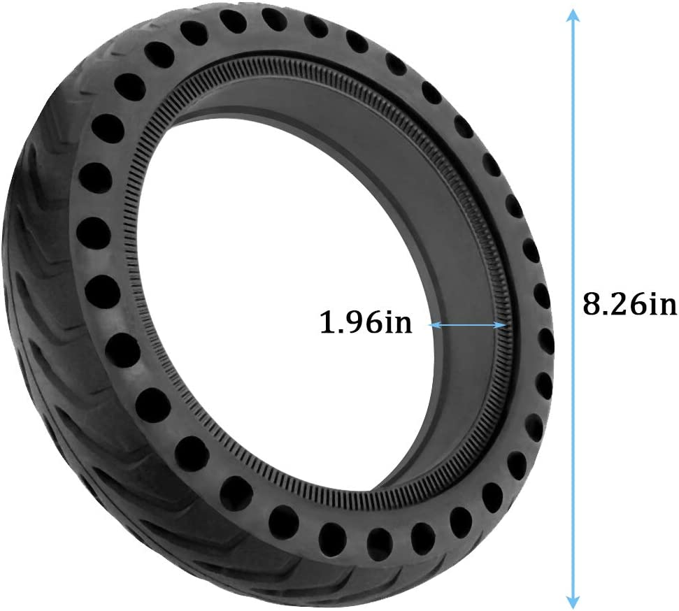 Micro Traders 2Pcs 8.5 Inch Solid Tyre and Tyre Spoon Kit Rubber Hollowing Wheel for Electric Scooter Replacement Compatible with Xiaomi M365