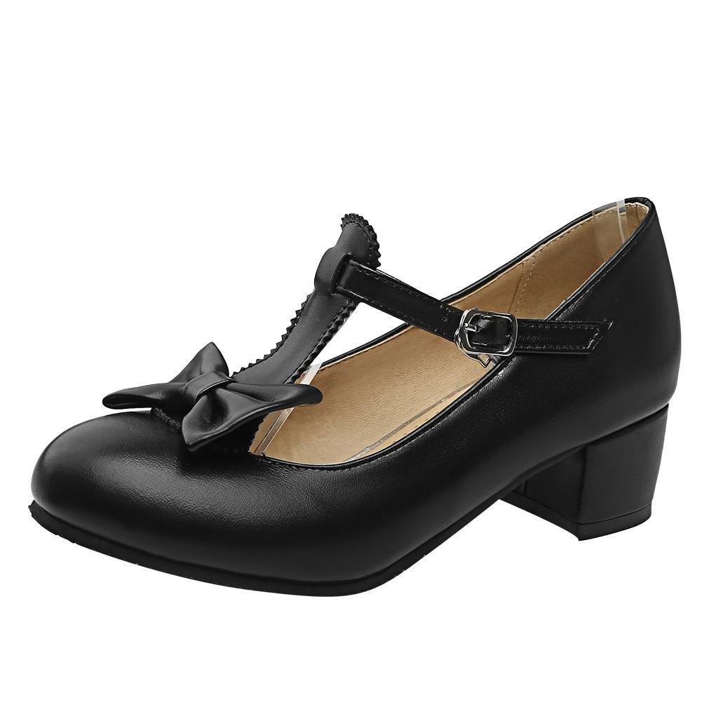 YE Damen T Strap Pumps Blockabsatz High Heels mit Riemchen und Schleife Rockabilly Süß Schuhe  34 EU|Schwarz