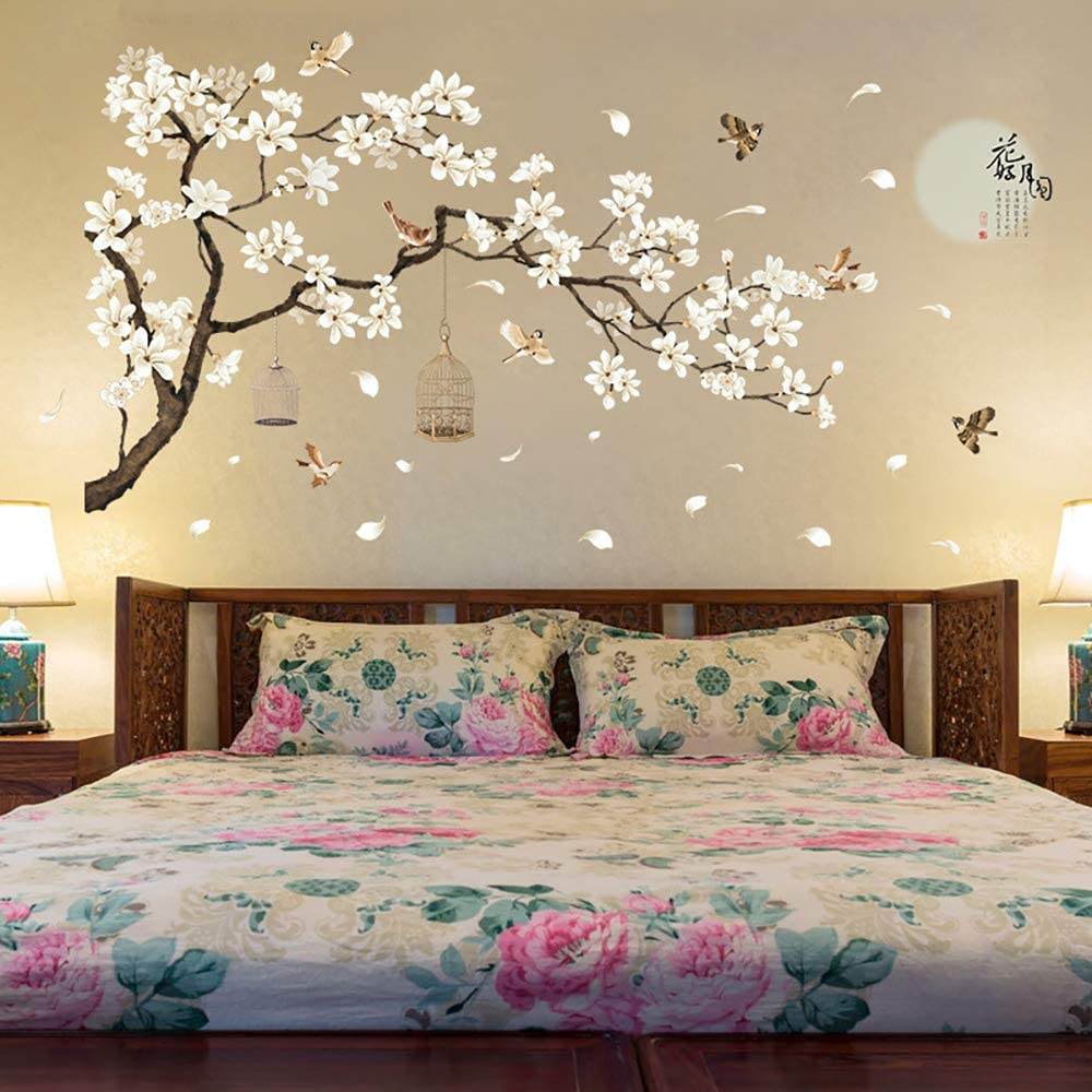 Amazon.com: ANBER Large Tree Wall Sticker Birds Flower Home Décor  Wallpapers for Living Room Bedroom DIY Vinyl Rooms Decoration: Home &  Kitchen