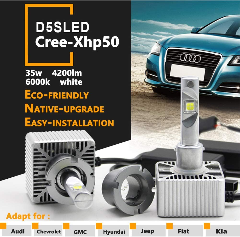 Sagesunny D5s LED Bulb 35w Cree-xhp50 Headlight 5500k White High Low Beam Genuine D5 9285 410 171 9285 LED For Sieera Silverado etc pack of 2