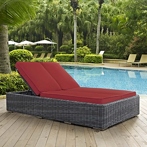 Modway EEI-1994-GRY-RED Double Outdoor Patio Sunbrella Chaise, Red ()