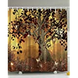 Ambesonne Old Twisted Tree Print Polyester Fabric Shower Curtain