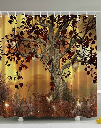 Curtains Ideas cloth shower curtain : Amazon.com: Ambesonne Old Twisted Tree Print Polyester Fabric ...