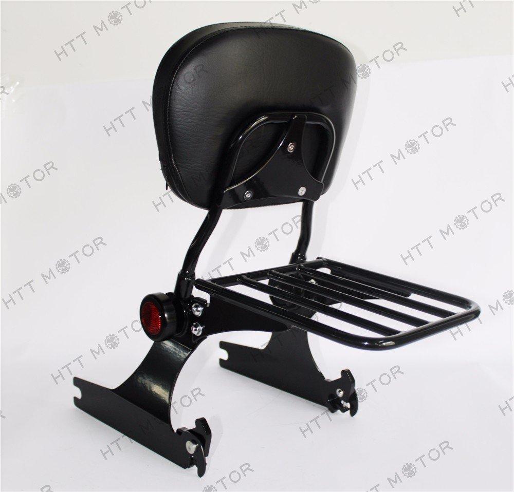 Adjustable Detachable Backrest Sissy Bar Luggage rack Compatible with Harley Dyna 02-05 Black HTTMT ASBB07