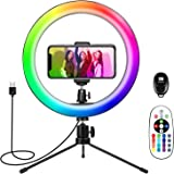 Tripod with Ring Light, Ring Light for iPhone 10'', YOTUTUN Phone Ring Light with 16 Colors for YouTube Video/Makeup/Live Str
