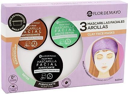Set de 3 Mascarillas Faciales con Turbante de Regalo: Arcilla Roja Antioxidante, Verde Detox y Negra con Carbón Activo Purificante, Contra Impurezas, Puntos Negros, Hidrata y Nutre - Pack 3: Amazon.es: Belleza