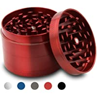 Grinder Moledor de Especias Metálico-CoWalkers Herb Spice Grinder con Pollen Catcher -40 mm de Diametro- dientes en forma de diamante (Red)