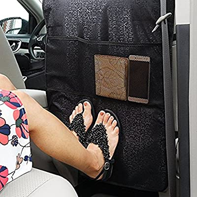 Emoh Kick Mats With Organizer - 2 Pack Backseat Protector Seat Covers SUV, Minivan or Truck - Seat Back Protector and Car Seat Protector best waterproof protection of your Car