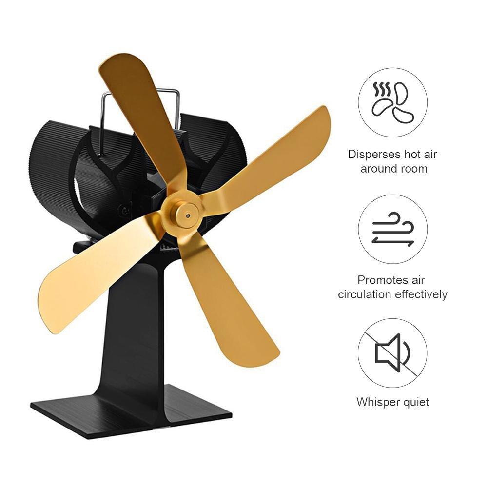 feiledi Trade - Ventilador de Estufa con 4 Cuchillas, Potencia térmica, Aumenta la Temperatura de la habitación en un 41%, silencioso, Chimenea para ...