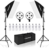 CRAPHY Kit Illuminazione Continua Softbox Fotografico 450W Professional 4 in 1 Con Borsa da Trasporto, Lampadine 10x45W, Supporto 2x Luce a 4 Testine, 40x60CM Softbox per Fotografia di Ritratto Video