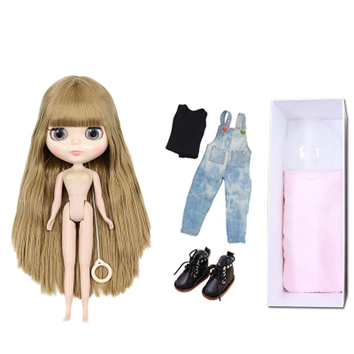 Jeans 19joints Aegilmc BJD Dolls Blythe Puppet, mode 1 6 SD 30Cm Ball Jointed Body Dolls, Blond Replaceable Big Eyes Hand Reborn Toy Surprise DIY Gift Make Up,TshirtRobe,19joints