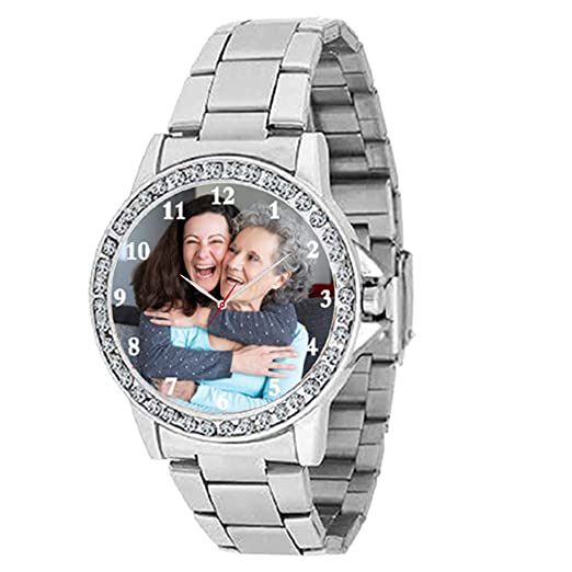 Hhi Personalized Customized Photo Watch With Stainless Steel Analogue Multicolour Women S Watchband