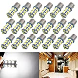 Boodled 20pcs Super Bright 1156 P21W BA15S LED Bulb 5050 18-SMD Chipsets LED Bulbs For Car Tail, Brake,Turn Signal,Parking,Backup,Side Marker Lights,Cheapest In Market 12V White.