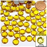 The Crafts Outlet 144-Piece Flat Back Round Rhinestones, 10mm, Golden Yellow