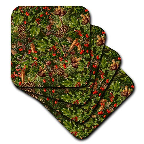 3dRose Andrea Haase Holiday Illustration - Allover Vintage Christmas Pattern With Holly Leave And Fir Cones - set of 4 Ceramic Tile Coasters ()