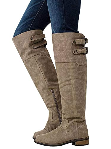 138154f321d Ermonn Womens Wide Calf Riding Boots Knee High Buckle Strap Suede Low Heel  Combat Boots