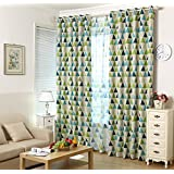 """1 Panel Geometric Triangle Grommet Top Room Darkening Curtains for Boys Girls Kids Room (54"""" width by 52"""" length, Green)"""