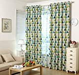 1 Panel Geometric Triangle Grommet Top Room Darkening Curtains for Boys Girls Kids Room (54″ width by 84″ length, Green) For Sale