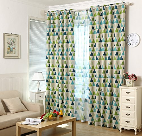 MYRU 1 Panel Geometric Triangle Grommet Top Room Darkening Curtains for Boys Girls Kids Room (39″ Width by 84″ Length, Green) For Sale