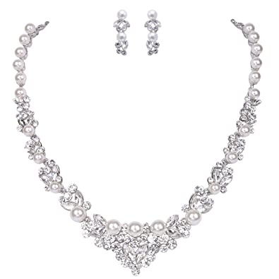 Ever Faith® artificial pearl crystal elegant necklace, earring jewellery set