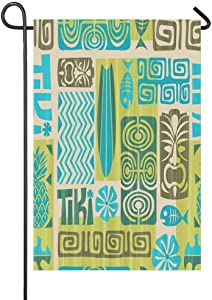 AnleyGardeflagsU Hawaiian Tiki Tribal Mask Seamless Retro Tiki Pattern Garden Flag for Garden Decorations Party Supplies