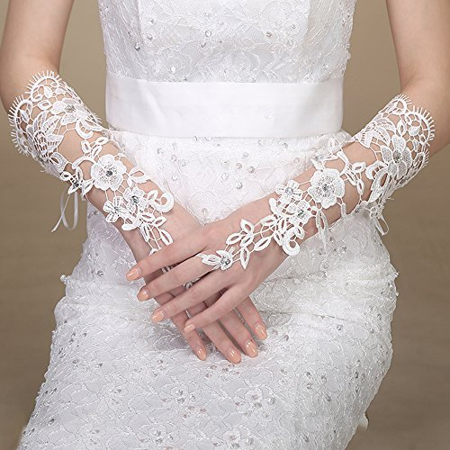 Fashionable White Bridal Gloves Lace Flower Glove Fingerless Elegant Wedding Dress Accessories