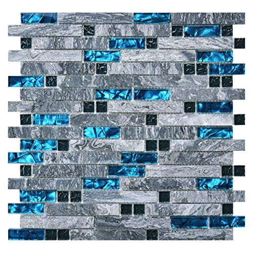 Mosaic Cut Decorative Tile - Art3d Decorative Tile for Kitchen Backsplash or Bathroom Backsplash (5 Pack)