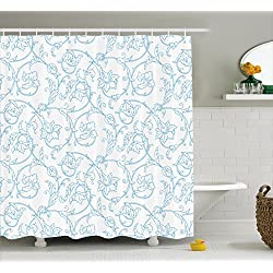 Ambesonne Floral Shower Curtain, Flower Orchids Bohemian Style Vintage Petals Vines Pattern French Country Style, Fabric Bathroom Decor Set with Hooks, 70 Inches, Blue White