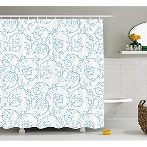 Ambesonne Floral Shower Curtain Flower Orchids Bohemian Style Vintage Petals Vines Pattern French Country Fabric Bathroom Decor Set With Hooks