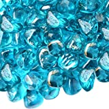 Onlyfire Reflective Fire Glass Diamonds for Natural or Propane Fire Pit, Fireplace, or Gas Log Sets, 10-Pound, 1/2-Inch, Caribbean Blue Luster