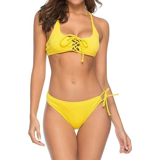 cbebad0dc8b refulgence Women s Solid Ront Cross Lace Up Bikini Swimsuit Push Up Padded  Split Swimwear Bathing(