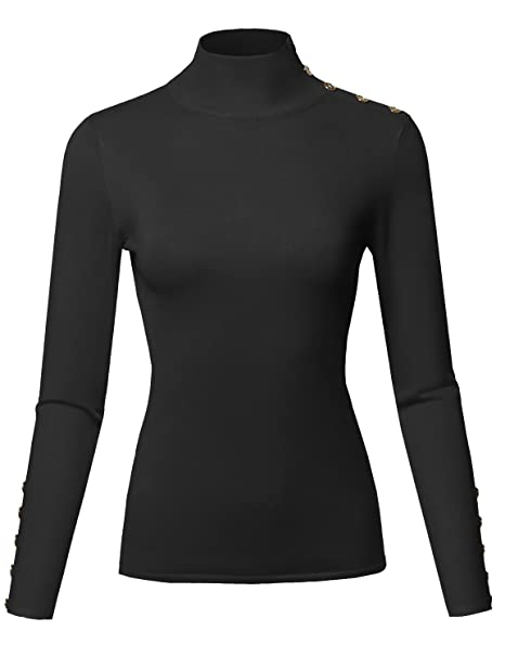 Casual Basic Gold Button Soft Long Sleeve Mock Neck Knit Sweater Black S