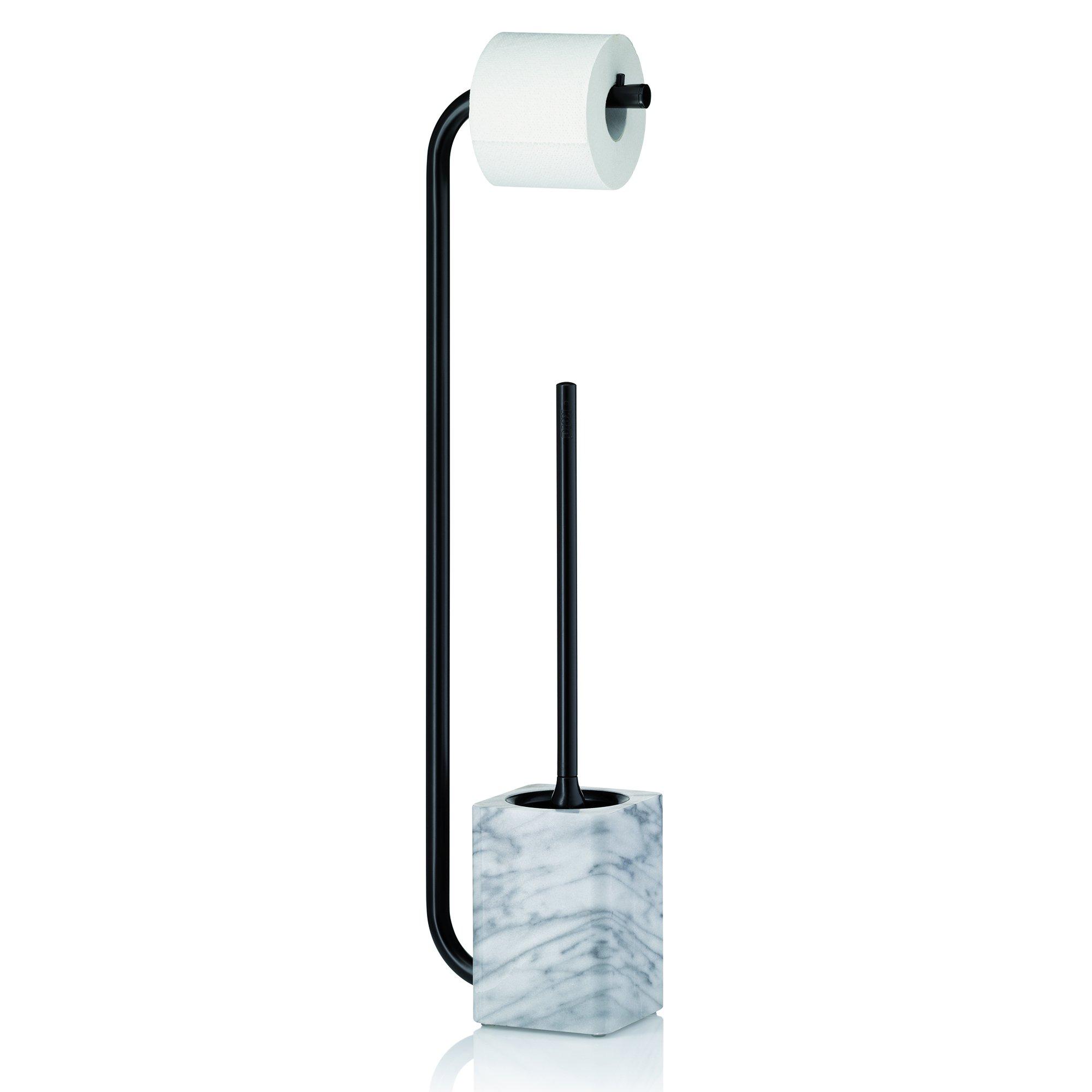 Kela 20031 Toilet Brush Set with Toilet Paper Holder, Varda Collection, Marble White