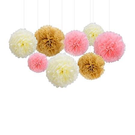 Nectaroy 9pcs Hanging Tissue Paper Pom Poms Paper Flower Ball For