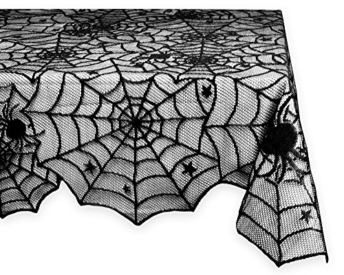 Moolecole 54'' x 72'' Halloween Black Lace Table Cloth Spider Web Tablecloth Mat for Halloween Parties and Dinner Decor