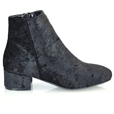 Womens Velvet Ankle Boots Flat Heel Zipper Round Toe Ankle Casual Smart Boots