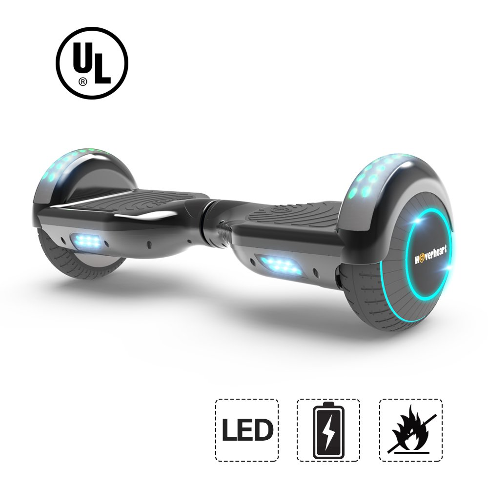 Hoverboard Lithium-Free Two-Wheel Self Balancing Electric Scooter UL 2272 Certified, Metallic Chrome LED Light (Chrome Black)
