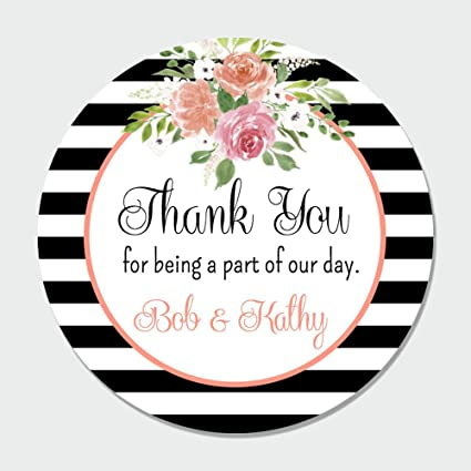 197685b72b96 Amazon.com  40 Customized Floral Wedding Thank You Favor Label ...