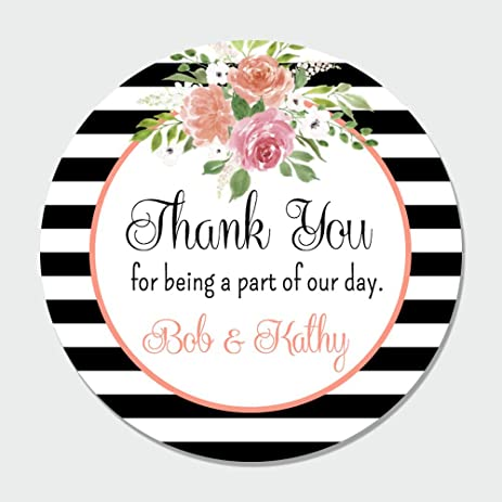 40 customized floral wedding thank you favor label stickers wedding thank you tags favor
