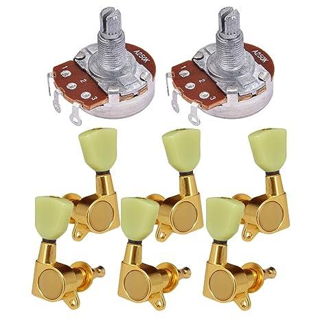 Sharplace 6 Pzas de Afinación Para Guitarra Eléctrica +2 Pcs Potenciómetro de Audio Pots A250k
