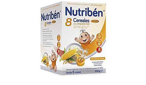 Nutribén Papilla 8 Cereales y Miel Fibra - 600 gr: Amazon.es: Alimentación y bebidas