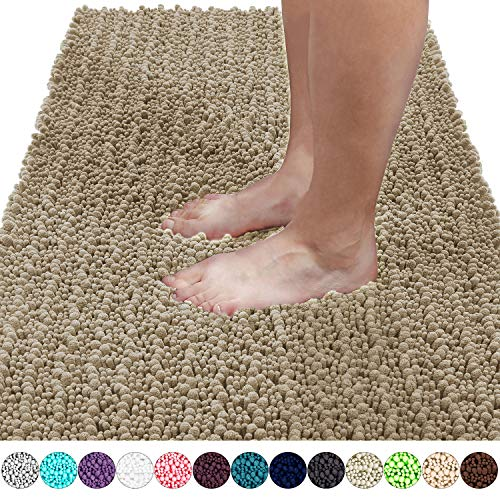 Yimobra Original Luxury Shaggy Bath Mat, Super Absorbent Water, Non-Slip, Machine-Washable, Soft and Cozy, Thick Modern for Bathroom Bedroom (44.1 X 24 Inches, Camel) (Pottery Clearance Rugs Bath Barn)