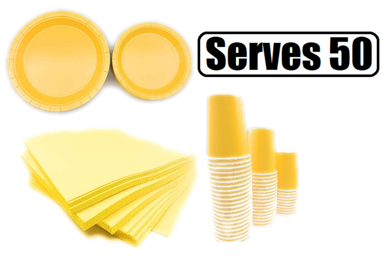 Serves 50 | Complete Party Pack | Yellow | 9'' Dinner Paper Plates | 7'' Dessert Paper Plates | 9 oz Cups | 3 Ply Napkins | office parties, birthday parties, festivals, Yellow Party Theme
