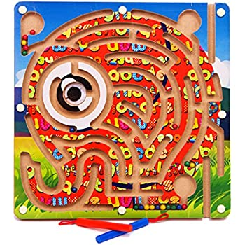 Amazon.com: VolksRose Magnetic Wooden Bead Maze Puzzle