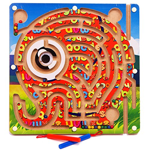 - VolksRose Magnetic Wooden Bead Maze Puzzle - Elephant Pattern - Magnet Pen Driving Labyrinth for Children 3 Years and Up - Perfect Christmas Gift for Your Kids