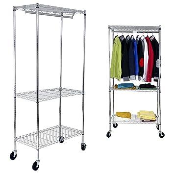 Yorbay Industrie Kleiderschrank 270kg Rollbar Mit Kleiderstange Und  Einlegeboden (1*Kleiderstange+2*