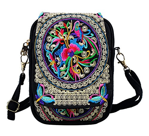 Crossbody Phone Small Body ElkIsComing Womens Bag Shoulder Cross Style colour Embroidered Ethnic Multi Bags Flowers gw08fY